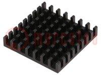 Hűtő: extrudált; fekete; L:31mm; W:31mm; H:6mm; alumínium