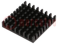 Radiator: geprägt; schwarz; L:31mm; W:31mm; H:6mm; Aluminium