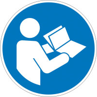 Gebotsschild auf Bogen,Folie,Anleitung beachten,5,0 cm DIN EN ISO 7010 M002