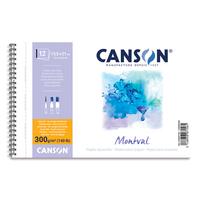CANSON Album spiralé 12 feuilles papier aquarelle MONTVAL, 13.5x21, 300G, grain fin Blanc naturel