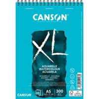 CANSON Album spiralé 20 feuilles XL AQUARELLE, A5, 300G, grain fin Blanc