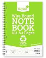 Silvine Recycled Notebook Wirebnd 70gsm Ruled Margin Perf Punched 4 Holes 104pp A4 Ref TWRE80 [Pack 12]