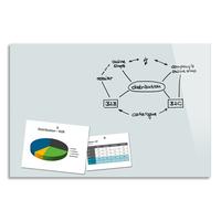 BE BOARD Tableau en verre trempé Blanc, magnétique, aimant et fixation fournie - Format : L90 x H60 cm