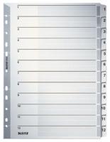 Kartonregister 1-12, A4, Karton, 12 Blatt, grau