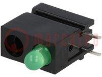 LED; házban; zöld; 3mm; Dióda szám:1; 20mA; Lencse: szórt, zöld; 40°
