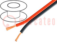 Leitungen: Lautsprecher-; 2x0,75mm2; Line; CCA; schwarz-rot; 100m