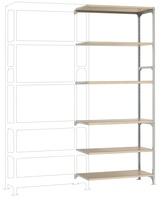 Mittelschweres Fachboden-Steckregal Anbauregal mit 6 Holzverbundböden, HxBxT = 2500 x 1000 x 400 mm