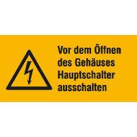 Vor Öffnen des Gehäuses Warnschild auf Bogen ,Gr.3,2x1,6cm DIN EN ISO 7010 W012 + Zusatztext ASR A1.3 W012 + Zusatztext