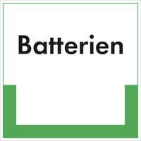 Abfallkennzeichnung - Textschild, Batterien, Größe (BxH): 20,0 x 20,0 cm