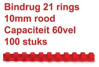 BINDRUG GBC 10MM 21RINGS A4 ROOD