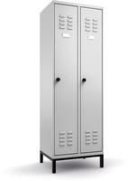 Garderobenschrank auf Untergestell, Breite 300mm, RAL7035/RAL7032