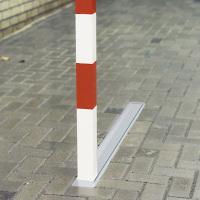 Versenkbarer Kipp-Pfosten, 70/70/1000mm, rot/weiß lackiert, m. Zylinderschloss