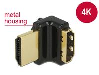 Adapter High Speed HDMI mit Ethernet – HDMI-A Buchse an HDMI-A Stecker 4K 90° gewinkelt oben schwarz, Delock® [65663]
