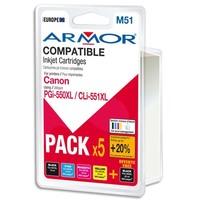 ARMOR Pack de 5 cartouches Jet d'encre CANON PGI550XL/551XL B10281R1