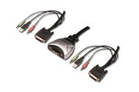 Digitus® MINI USB-KVM Switch mit DVI, Audio inkl. Kabelset 1,2 m