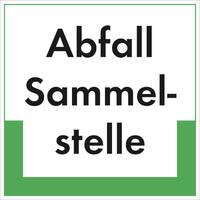 Abfallkennzeichnung - Textschild, Abfall Sammelstelle, (BxH): 20,0 x 20,0 cm