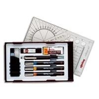 ROTRING Coffret 3 stylos techniques ISOGRAPH+encre+gomme+porte-mine+1 étui mine avec système PEN STATION