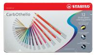 Pastellkreidestift STABILO® CarbOthello, Metalletui mit 12 Stiften