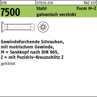 DIN 7500 St. gehärtet M M 6 x 45 -Z galv. verzinkt gal Zn S