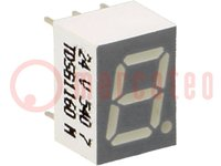 Display: LED; 7-segmentig; 7mm; grün; 0,45-6mcd; Kathode; Anz.Z:1