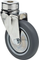 Produkt Bild von Lenkrolle Stahl Rückenloch 100mm Rad Grau Thermoplastisch Gummi. Traglast 70 Kg