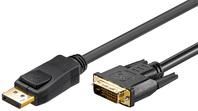 DisplayPort Kabel 1,0 Meter, 20 pol. Stecker > DVI 24+1 Stecker