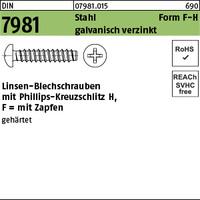 DIN 7981 Stahl 2,9 x 13 -F-H galv. verzinkt passiviert gal Zn K