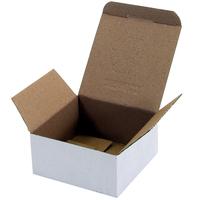 Wellpapp-Faltkarton 1-wellig, 118x118x56 mm, weiß, Automatikboden