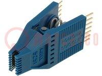 Testclips; SOIC; PIN:14; blauw; Rijafstand:19,18/10,41mm; verguld