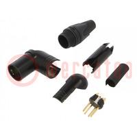 Stecker; XLR; männlich; PIN: 4; mit 90°-Winkel; für Leitungen; 10A