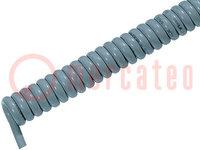 Wire: coiled; ÖLFLEX® SPIRAL 400 P; 3x1mm2; PUR; grey; 300/500V; 1m