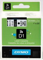 D1 Schriftband D1, Kunststoff, laminiert, 7 m x 24 mm, Schwarz/Weiß