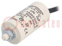 Kondensator: für Motoren, Betrieb; 2uF; 425VAC; Ø28x55mm; ±5%