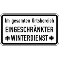 Modellbeispiel: Winterschild/Verkehrszeichen, (Im gesamten Ortsbereich Eingeschränkter Winterdienst) Nr. 2004