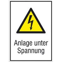 Warnschild Anlage unter Spannung Kombischild, Alu geprägt, Größe 13,10x18,50 cm DIN EN ISO 7010 W012 + Zusatztext ASR A1.3 W012 + Zusatztext