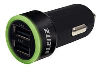 USB Kfz-Ladegerät Complete, 24 Watt, 2 USB-Ausgänge, schwarz