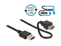 Anschlusskabel EASY USB 2.0, Typ A Stecker an Typ A Buchse, ShapeCable, schwarz, 2m, Delock® [83665]