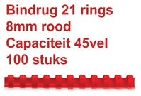BINDRUG FELLOWES 8MM 21RINGS A4 ROOD