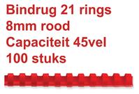 BINDRUG GBC 8MM 21RINGS A4 ROOD