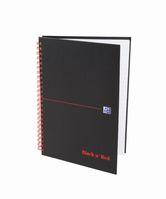 Oxford Office Black 'n Red Spiralbuch A5, kariert 5 mm, 70 Blatt, 90 g/m²