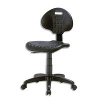 Chaise technique en PU Noire hauteur standard avec repose-pieds sur roulettes, réglable en hauteur
