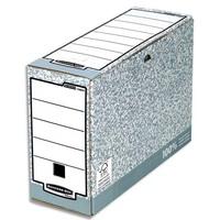 BANKERS BOX Boîte archives dos 10cm SYSTEM, montage automatique, carton recyclé gris/blanc