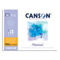 CANSON Bloc 12 feuilles papier aquarelle MONTVAL, collées 4 côtés, 24x32, 300G, grain fin Blanc naturel