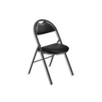 Chaise pliante Arioso en simili cuir Noir, 4 pieds tube époxy Noir avec patins de protection