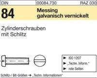DIN84 M6 x 10 mm Messing galvanisch vernickelt
