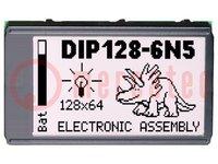 Kijelző: LCD; grafikus; STN Positive; 128x64; kék; LED; 75x45,8mm