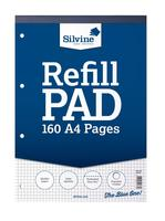 Silvine Refill Pad Headbound Perforated Punched Quadrille Squared 5mm 75gsm A4 Ref A4RPX [Pack 6]