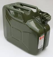 Benzinkanister, 10 Liter, Stahlblech, olivgrün