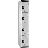ACIAL Multicasiers Optimum en acier corps et portes Gris, 4 portes - Dimensions : L40 x H180 x P50 cm