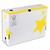 5 ETOILES Boîte archives dos 10 cm. Montage manuel. Carton blanc, imprimé jaune.